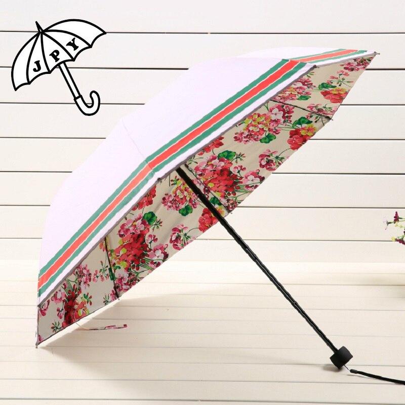 Acheter 4 Couleurs Belle Fleur Rose Pluie Parapluie Double Couche Soleil Parasol Protection durable Ray 3 Pliage Parapluie Femme de folding umbrella women fiable fournisseurs
