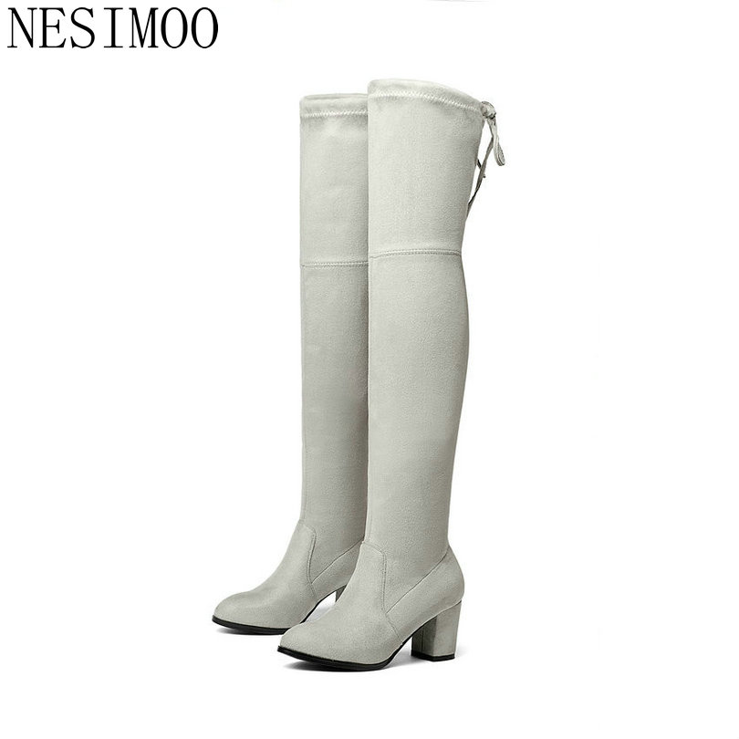 NESIMOO 2018 Women Over The Knee Boots Flock Winter Round Toe All Match Ladies Lace Up Stretch Fabric Fashion Boots Size 34-43