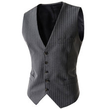 2015 New Arrival Men Suit Vest Fashion Design Mens Slim Fit Black Gray Striped Vest Autumn Casual Men Single Breasted Waistcoat