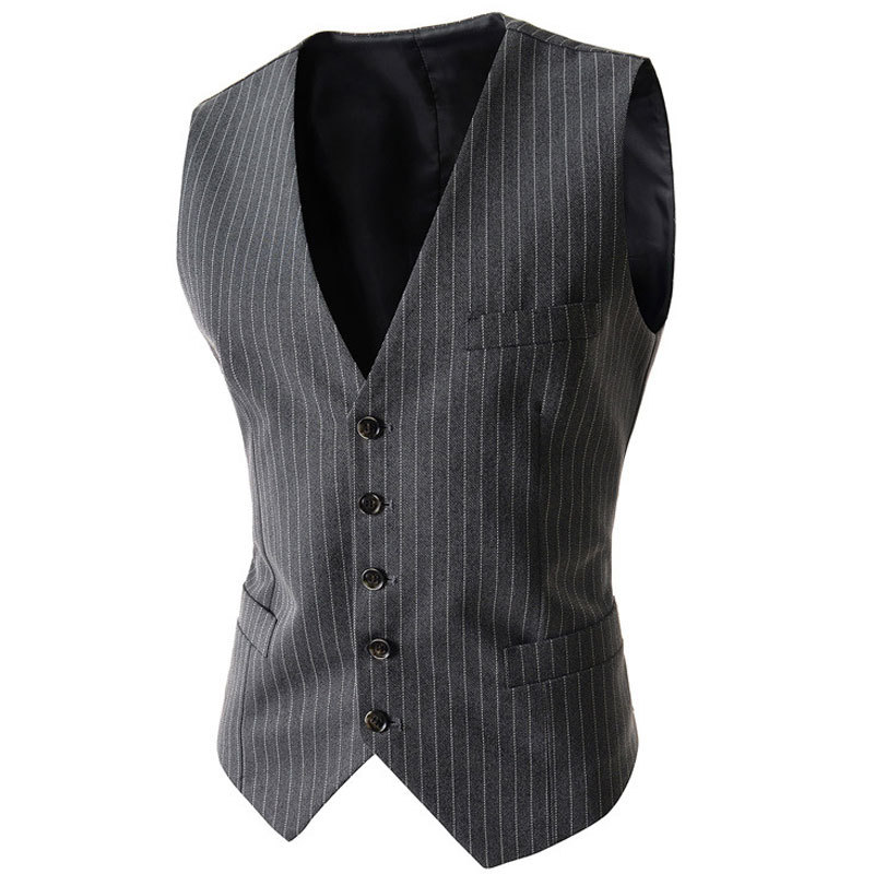 2017 New Arrival Men Suit Vest Fashion Design Mens Slim Fit Black Gray Striped Vest Autumn