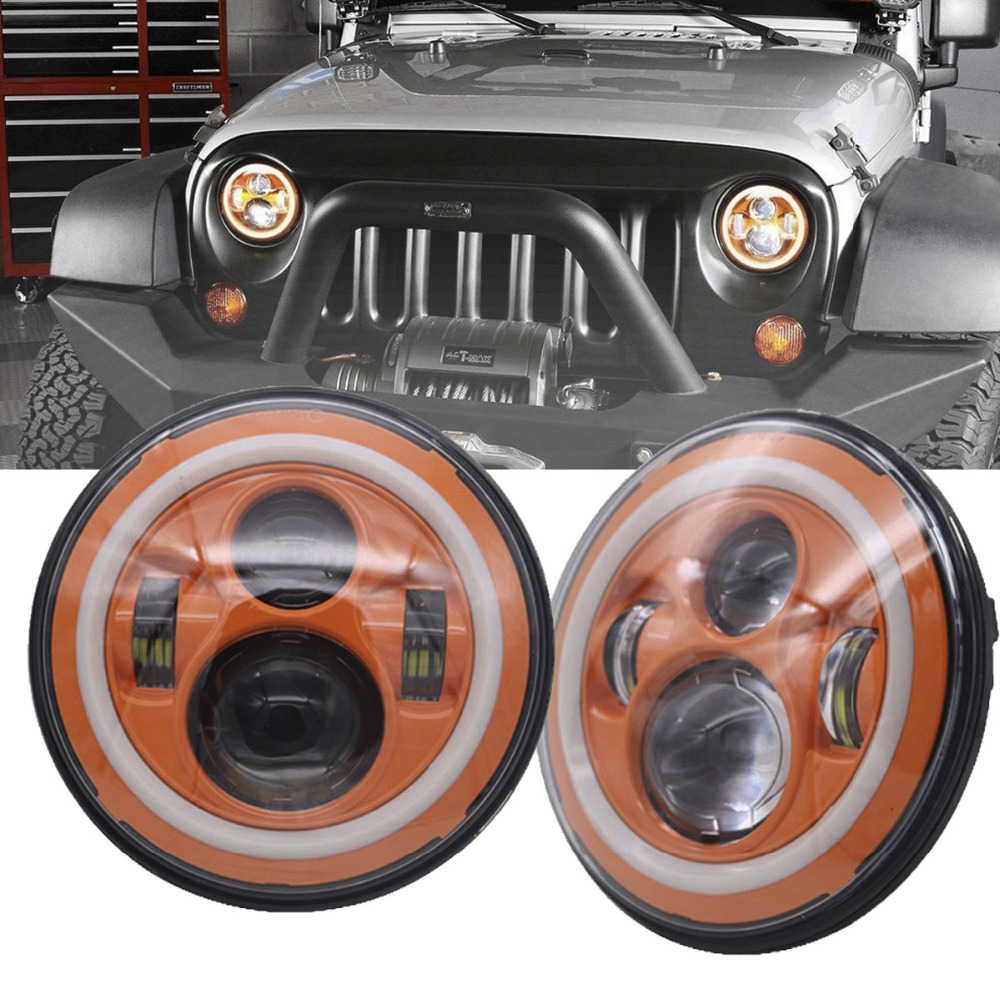 TNOOG 7 LED Halo Ring Angel Eyes Headlight For jeep Round Orange Projector Light Wrangler Replacement