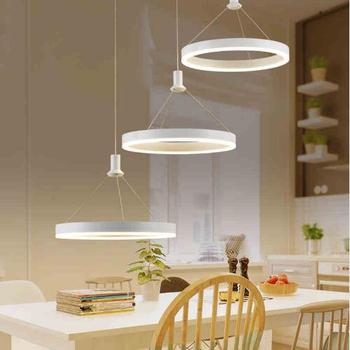 Wit Ringen LED Kroonluchter Moderne Voor Slaapkamer Eetkamer Acryl 90 ~ 260 V Kroonluchter Verlichtingsarmaturen Lustre Lamparas Colgantes