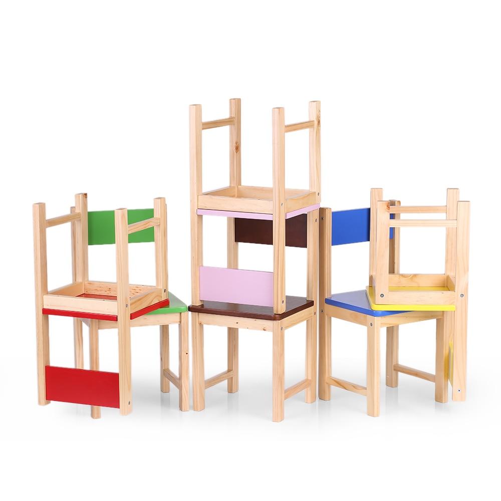 IKayaa NOUS DE FR Stock Solide En Bois Enfants Chaise Tabouret Pin ...