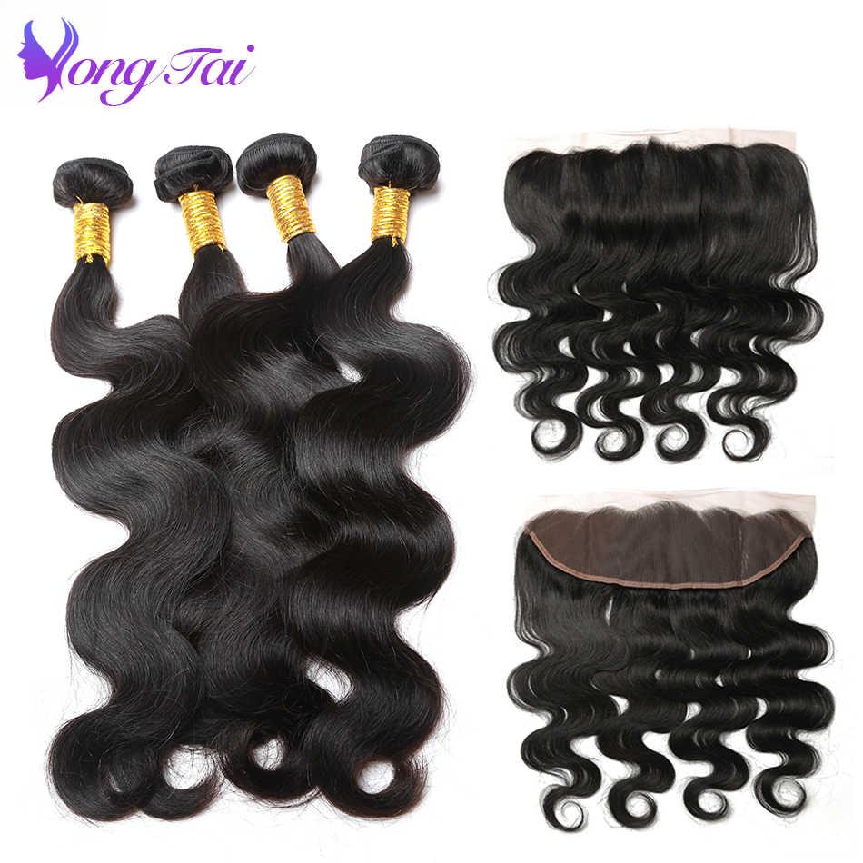 Extensiones de cabello humano con pelo peruano con cierre 4 mechones Body Wave con cierre Frontal de encaje y mechones Deals Yuyongtai non-remy