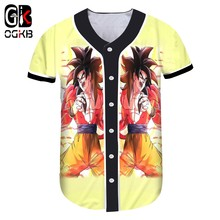 OGKB Spring Summer Tops Anime Tshirt With Button Funny Print Super Saiyan 4 3d T-shirt women Hiphop Baseball Uniforms Harajuku(China)