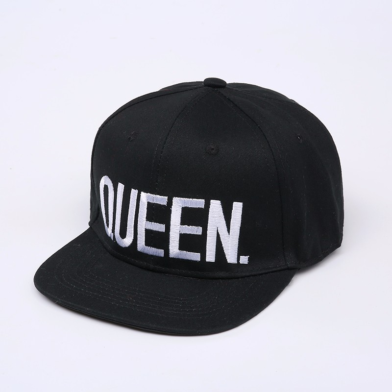 "Embroidered ""King and Queen"" Snapback Cap Set - Black Queen Cap with White Embroidery"