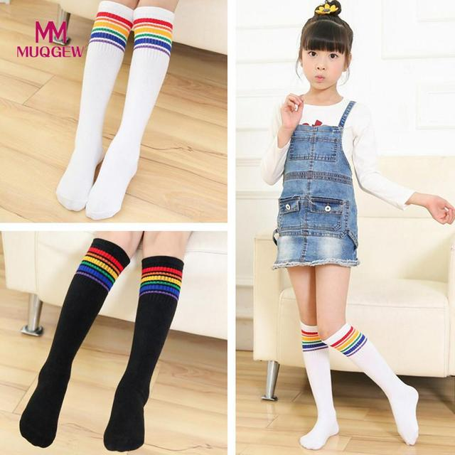 4c396326a 1Pairs Socks Cotton Rainbow Medium Knee Socks Solid Stockings for Baby  Girls Toddler Kids Children s Socks