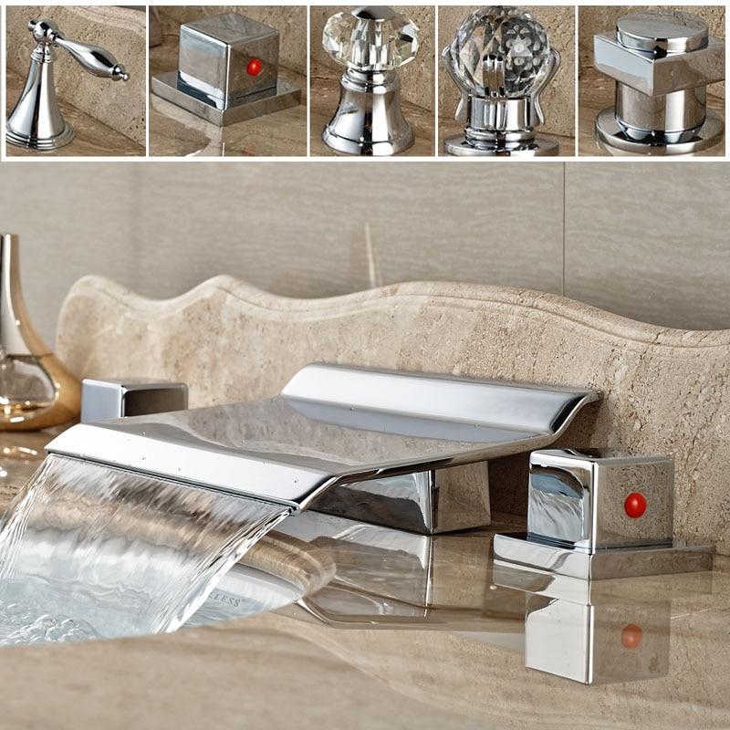 ФОТО Brass Waterfall Spout Basin Sink Tub Faucet Dual Handle Chrome Bathroom Mixer Taps