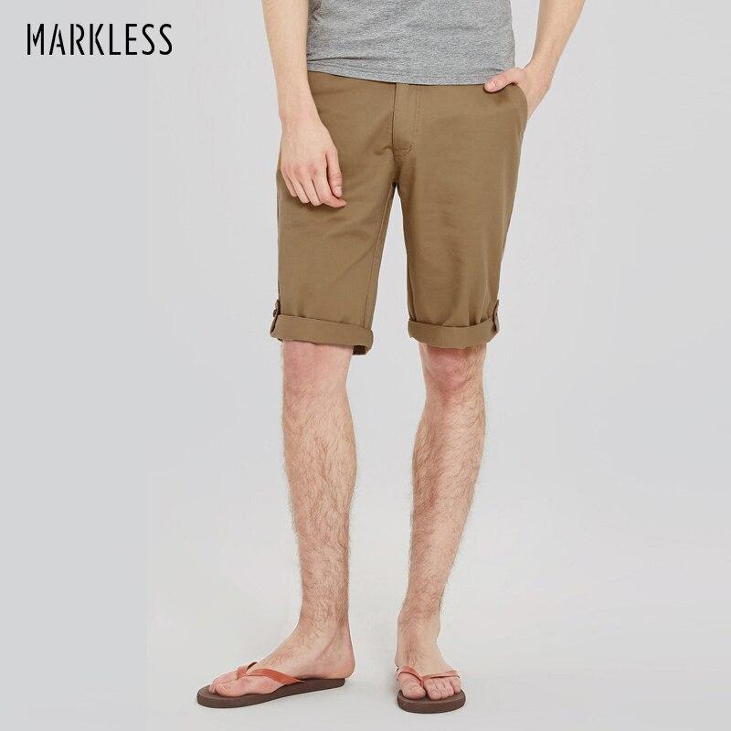 Markless 2017 Summer Fashion Shorts Men Casual Shorts 100 Cotton Slim Knee length Summer Men Short