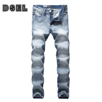 Fashion White Washed Men Jeans Light Blue Color Denim Classic Scratched Ripped Jeans Men DSEL Brand