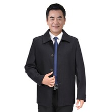 WAEOLSA Middle Aged Men Black Jackets Turn Down Collar Basic Coat Man Leisure Jacket Plus Size Outerwear Father Clothes 60s 70s