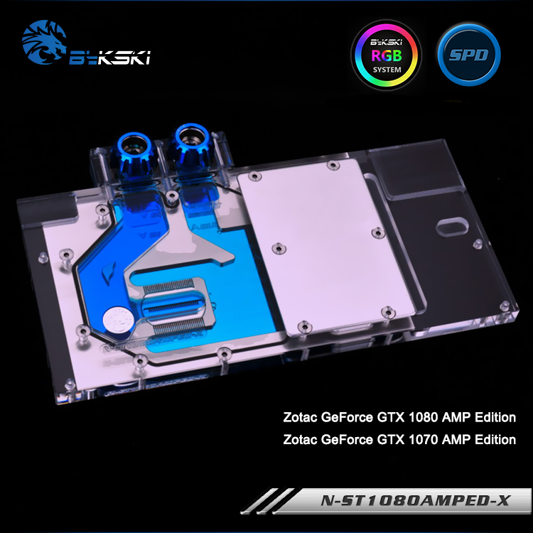 Bykski N ST1080AMPED X, Full Cover Graphics Card Water Cooling Block RGB/RBW for Zotec GTX 1080TI/1080 APM Edition