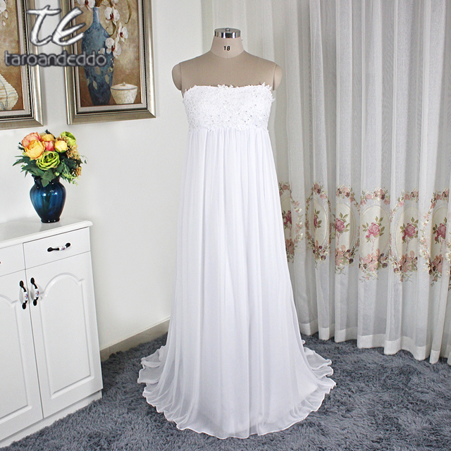 fa5ad3b5d1d Empire Waistline White Plus Size Wedding Dress Crinkle Chiffon Court Train  Bridal Gowns Simple KP3695 A-line Bridal Dress