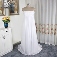 Empire Waistline White Plus Size Wedding Dress Crinkle Chiffon Court Train Bridal Gowns Simple KP3695 A line Bridal Dress