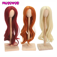 MUZIWIG 1PCS Doll Accessories Wigs Beautiful Red 1/3 1/4 Long BJD Doll Wigs Long Curly hair SD Doll Wigs Fashion Stylish Hair transfor cut bjd doll wigs dz sd msd bb syntheitc mohair wigs