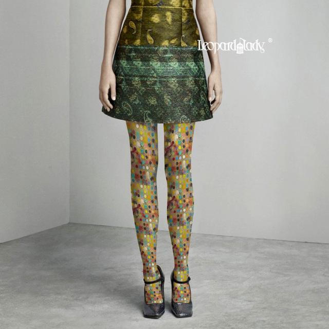 Mujeres Top Imprime Moda Medias Collant Medias Pantis Mujer Invierno 2016 Nueva Impresión en Color de Diseño Polka Pantimedias Cómoda