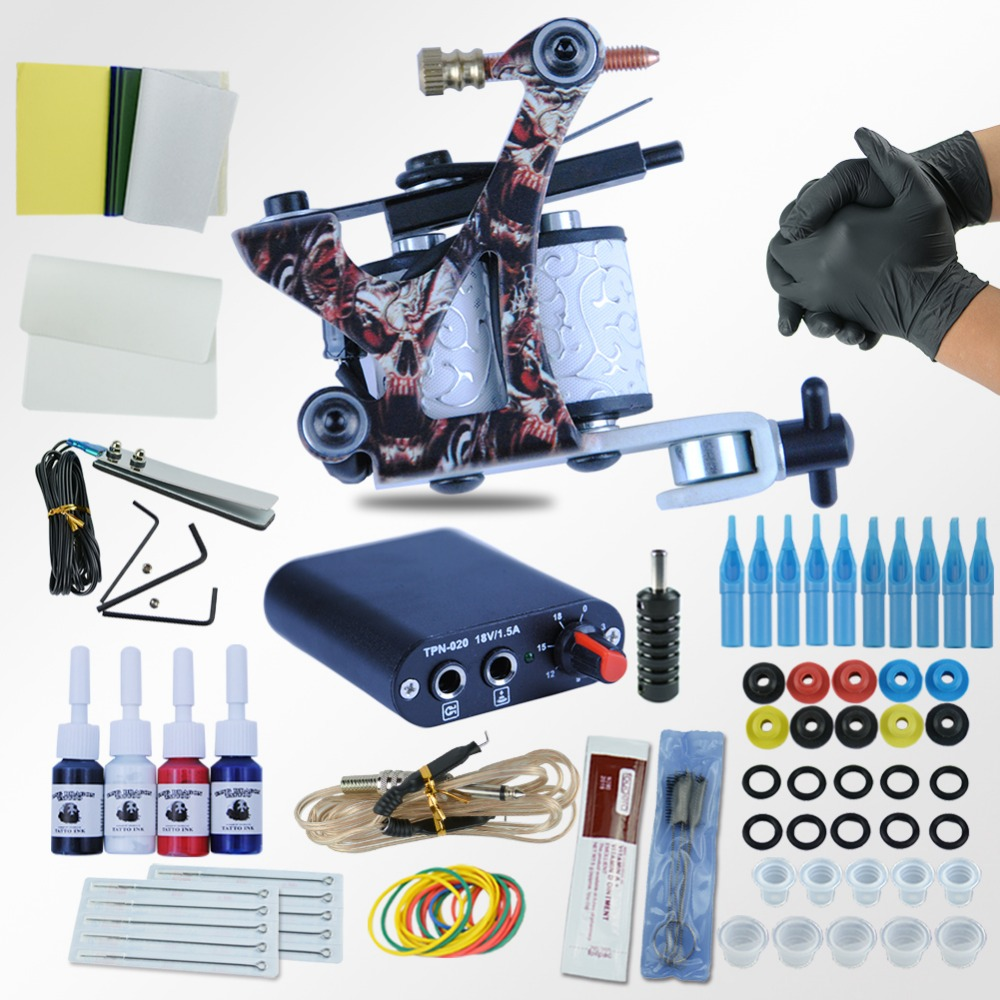 beginner tattoo starter kits 8 wrap coils guns machine kit set 1 6 oz tattoo ink sets power. Black Bedroom Furniture Sets. Home Design Ideas