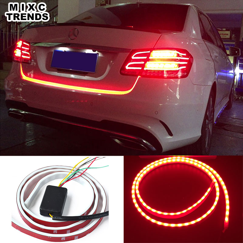 120CM 150CM 335 LED RED Flow trunk Strip Light Car Turn Signal Tail Trunk LED Warning DRL Light Ice Blue Daytime Running Light chic solid color round coin bracelet for women