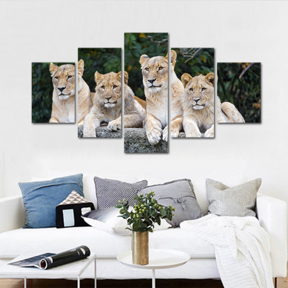 Unframed HD Print 5 Canvas Art Painting Group Of Lions Living Room Decoration Spray Painting Mural Unframed Free Shipping