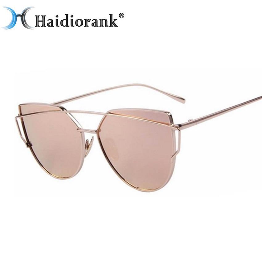 f36365d1da55b Olho de gato Óculos De Sol Das Mulheres Marca Designer 2017 Retro Vintage  Espelho Óculos de Sol Para As Mulheres Top De Metal Rosa Luxo Feminino Doces