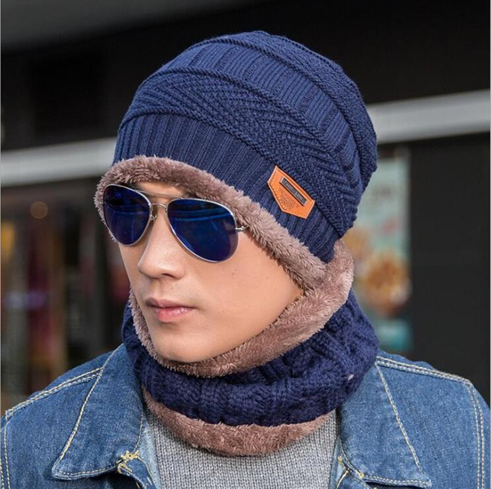 Yyun New Active Fashion Women Men Hat And Shawl Two Set Autumn And Winter Knitted Wool Cap Plus Cashmere Thicken [hat + Collar]