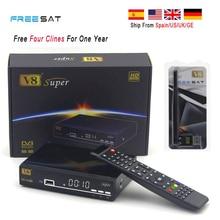 2 pcs 1 Année Europe Cccam Serveur Quatre clines Freesat V8 super HD DVB-S2 Récepteur Satellite 3G iptv satellite récepteur + USB WIFI