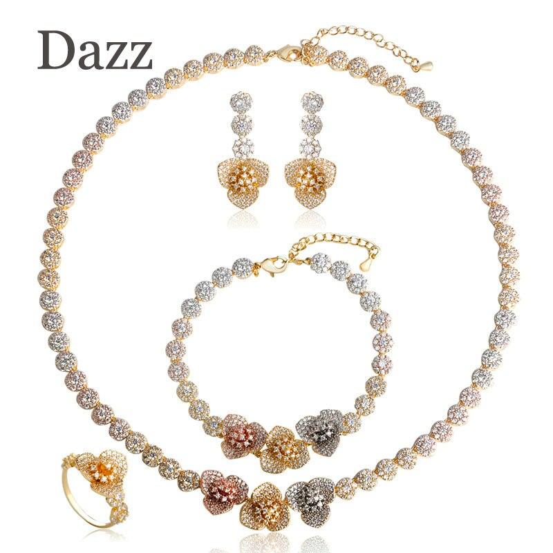 Dazz Exquisite Three Tones Colors Flower Shape Choker Necklace Earrings Ring Bracelet Zircon Set Jewelry Women Girls Accessories цена