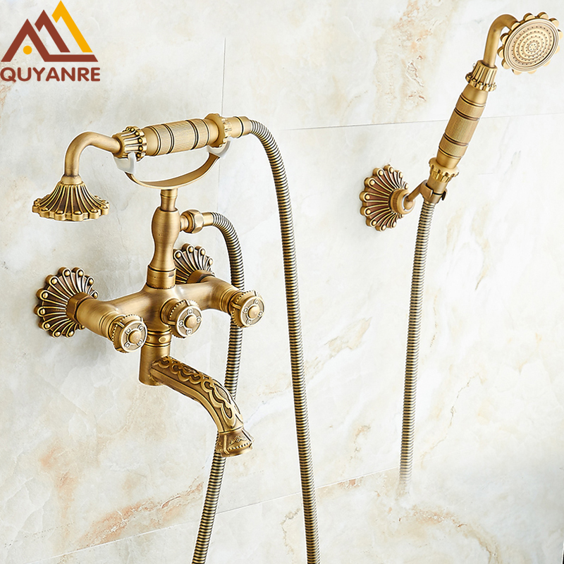 Quyanre Euro Carved Antique Brass Shower Faucets Wall Mount Brass 3 Handles Mixer Tap Dual Holes Bathtub Shower Faucet