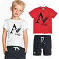 boys sets Famous brand Retail 2016 nice kids boys sets The letter  new summer kids cartoon baby short sleeves kids clothing set