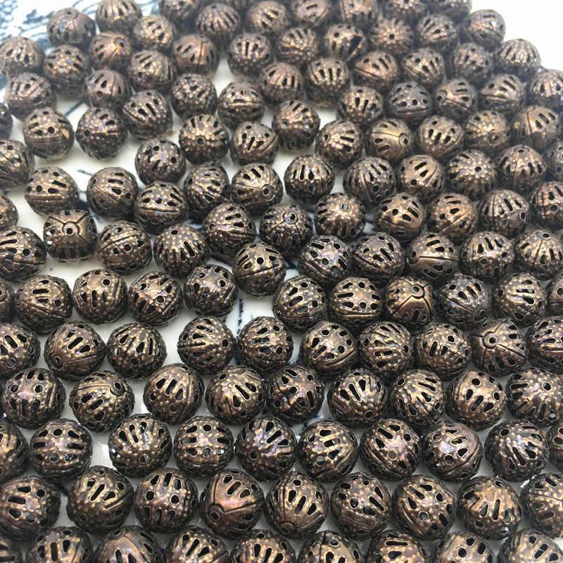 4/6/8/10mm Bola Oca flor Contas Encantos de Metal de Bronze Banhado A Filigrana Spacer Beads Diy fazer jóias