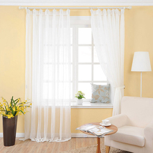 27m high romantic tulle cotton linen white sheer window curtains for bedroom decorative