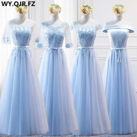 MNZ9688#half sleeve embroidery lace up long Sky Blue Bridesmaid Dresses spring 2017 new party prom bride wedding toast dress