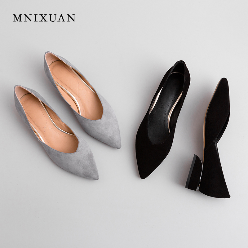 MNIXUAN Handmade solid women flats shoes 2019 spring new sheep suede slip on shallow office boat