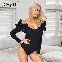 Simplee Ruffle V Neck Knitting Bodysuit Women Sexy 2017 Autumn Femme Jumpsuit Romper Black Short Overalls