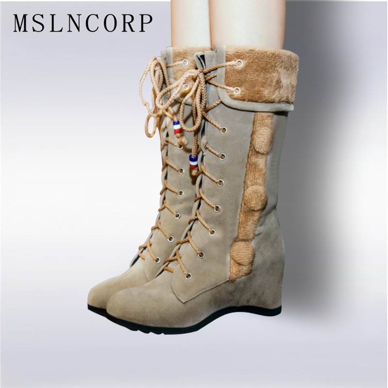 plus size 34-43 new women autumn and winter retro fashion snow boots Height Increasing warm cotton boots lace up mid calf boots beyarne new autumn and winter women snow boots front strap flat heel medium leg student boots plus size 34 43 free shipping
