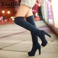 Taoffen Fashion Suede Thigh High Boots Over Knee Boots Sexy Platform Boots High Boots Female Large Size 34 43 Winter Shoes