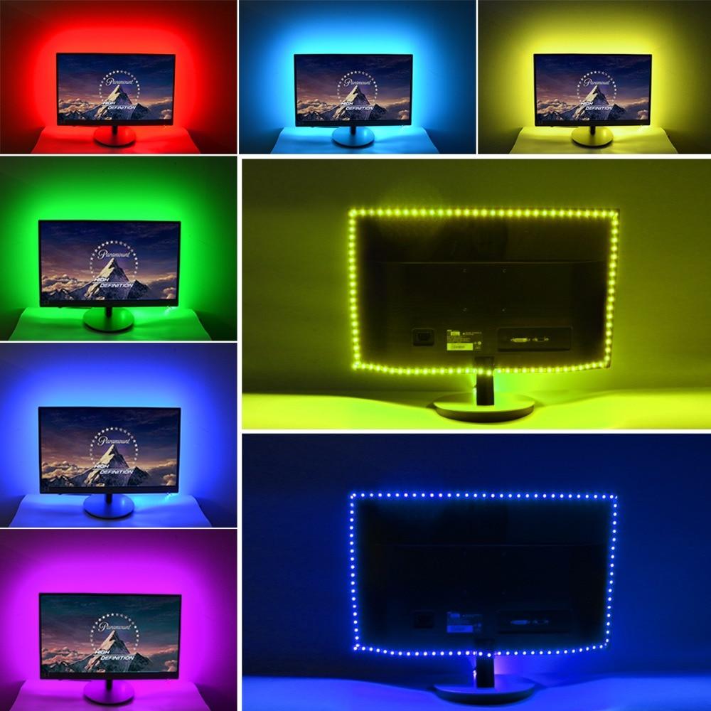 LED-TV-Hintergrundbeleuchtung JACKYLED 2M 5V LED-TV-Streifen Multi Farbe RGB 5050 USB-Stromversorgung Monitor Bias Beleuchtung mit Mini-Controller F/ür HDTV PC Gaming Bildschirm Desktop Dekoration