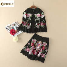 2017 new women autumn runeway fashion solid print floral embroidery lace full sleeve coat+mini skirt two pcs cute outfit D1192