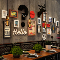 SUFEILE Photo Frame Solid Wood Industrial Wind Picture Frame Wall Bar Barbecue Shop Deer Head Clock Combination Frame Wall D40