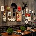SUFEILE foto marco de madera maciza viento Industrial foto marco pared Bar tienda de barbacoa de la cabeza de ciervo reloj combinación pared D40