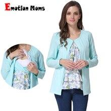 Emotion Moms/Одежда для беременных с длинными рукавами; Топ для беременных; футболка для кормления; топы для беременных женщин; имитация 2 шт