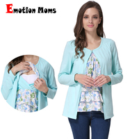 Emotion Moms Long Sleeve Maternity Clothes Maternity Top Nursing T-shirt Breastfeeding Tops for pregnant women False 2 Pieces