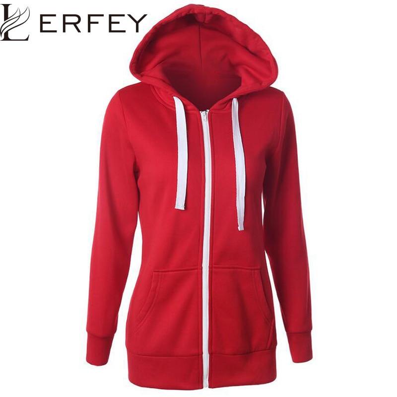 LERFEY Autumn Winter Sweatshirt Women Casual Solid Hoodie Lapel Hooded New Zipper Sweatshirts Pullovers Thicken Female Hoodies
