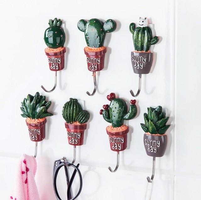 Cactus creativo ama de llaves de la pared ganchos para for Perchas para colgar llaves