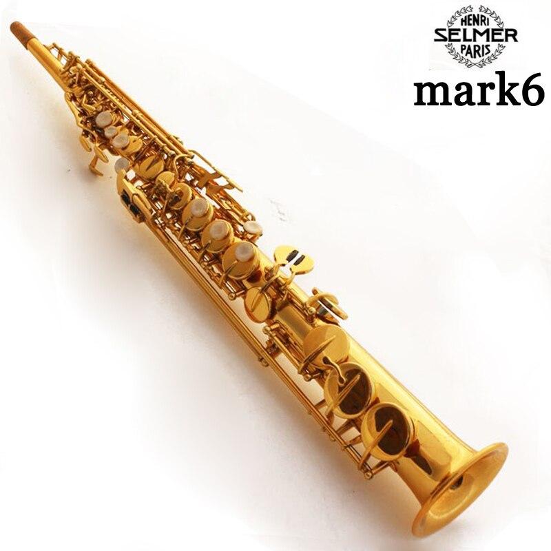 Saxophone soprano Selma Mark6 VI B plat Électrophorèse Or Sax Droite Saxofone instruments de musique professionnel Accessoires