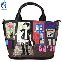 Gamystye 2017 Vrouwen Handtassen Messenger Bags Geborduurde meisje Handtassen mode Zoete 6070 bazaar Tote bloemen kat PU zakken