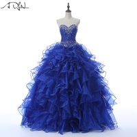 15ab68899a5b ADLN 2018 Royal Blue Quinceanera Gown Vestidos de 15 Anos Sweetheart Organza  Crystals Elegant Masquerade Dress