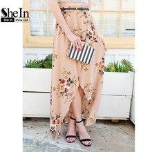 Shein элегантные длинные юбки для женщин vintage женщин юбки женский цветочные розовые розы печати асимметричный wrap юбка макси