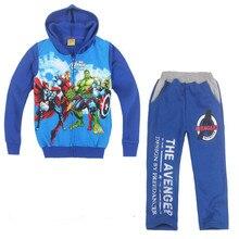 Осень детская одежда устанавливает мальчиков спортивный костюм спортивный костюм с капюшоном мода согреться молнии мультфильм халк пальто брюки детская одежда