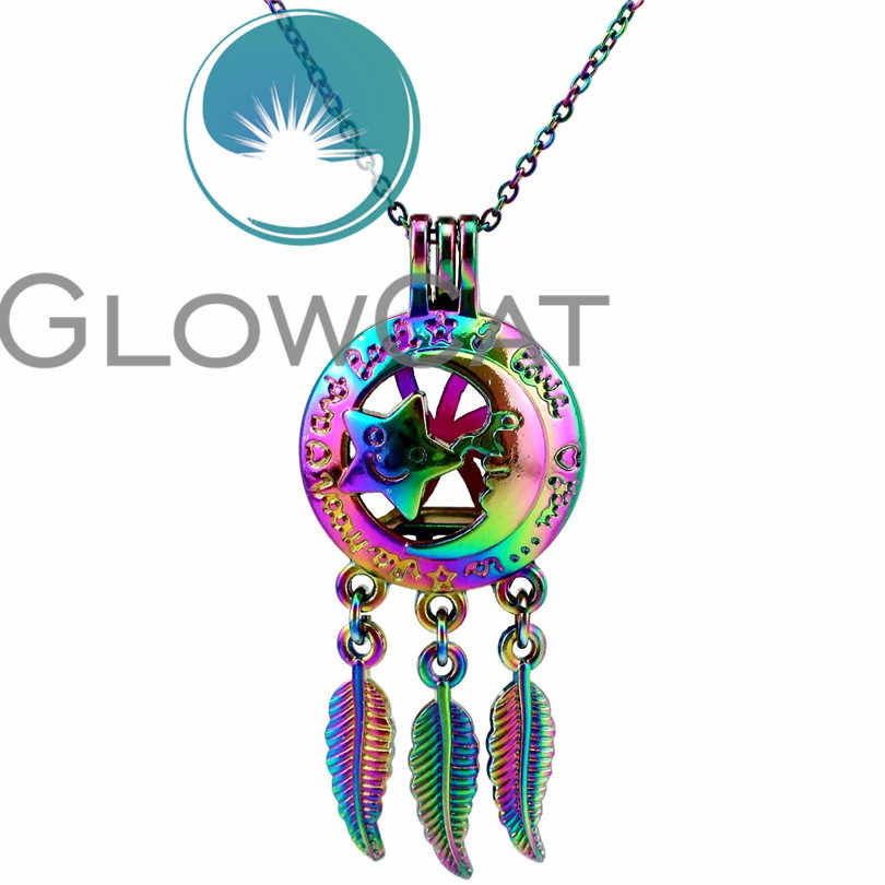 CC740 Colorful I Love You To the Moon and Back Dreamcatcher Star Moon Beads Cage Perfume Diffuser Pearl Cage Locket Necklace